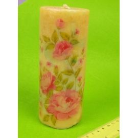 Свічка тубус 15 см. «Ніжні квіти »