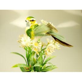 Пташка зелена+персикова 15 см