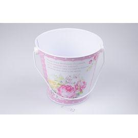 Металеве відерце 13× 12см.  рожеве з квітами