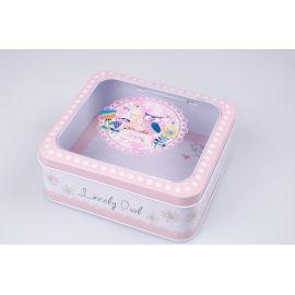 Коробка прямокутна з прозорим верхом металева рожева