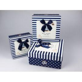 Комлект коробок подарункових  «Best Wishes» синій 3 шт.