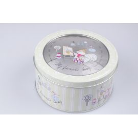 Round box with transparent top metal