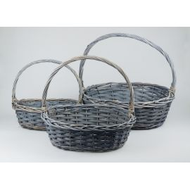 Set of the basket gray 3 pcs. 40 × 35 × 15 cm.