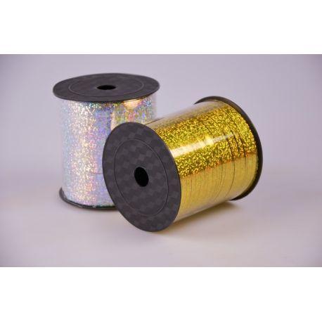 Лента 0.5 см.× 250 ярд.галограмная золото