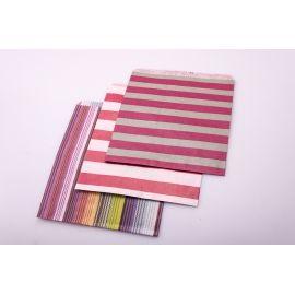 Пакет из бумаги без ручек 18 см × 22 см. в полоску
