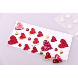 Декоративные наклейки « Сердечка красные » 21 шт.