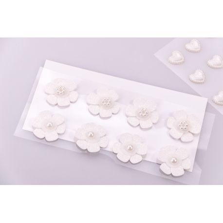 "Decorative stickers ""Flowers white"" 8 pcs."