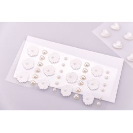 Decorative stickers «Flowers and hearts pearl» 36 pcs.