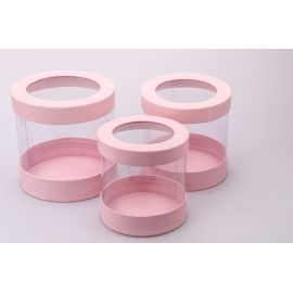 Tubes of transparent walls 3 pcs. pink
