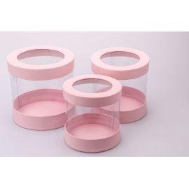 Тубусы из прозрачными стенками 3 шт. розовые