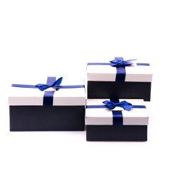 Коробки для подарунків квадратні сірі з синім бантом