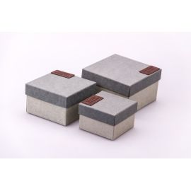 Boxes for gifts square from a leather sticker 3 pcs.gray