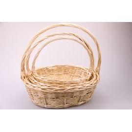 Baskets natural oval 3 pcs.