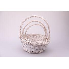 Baskets white round averages 3 pcs