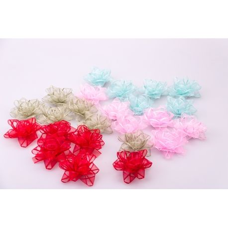 Buns of a star 6.5 cm organza 40 pcs.