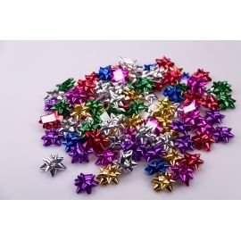 Star bows 4 cm colored metal 100 pcs.