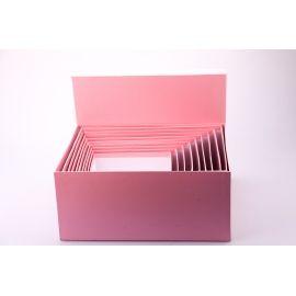 Комплект коробок 10 шт. прямокутні великі рожеві