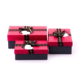 Boxes for gifts rectangular from bow 3 pcs.red