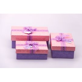 Boxes for gifts rectangular from bow 3 pcs. pink