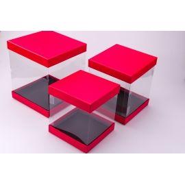 Коробка квадрат из прозрачными стенками красная