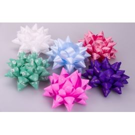 Bows PP 12 cm. Color with a pattern of 6 pcs.