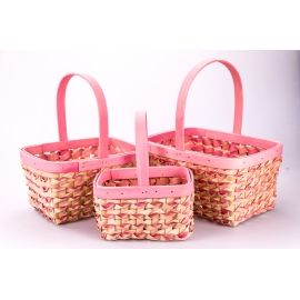 Pink square baskets 3 pcs.