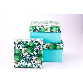 """Boxes for gifts square """"Orchids"""" 3 pcs"""