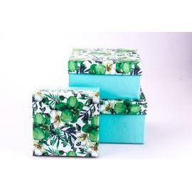 Коробки для подарунків квадратні «Орхідеї» 3 шт.