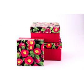 Коробки для подарунків квадратні «Гранат» 3 шт.