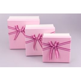 Boxes of gifts square cream-pink of a bow 3 pcs.
