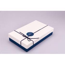 Коробка прямокутна пласка 1 шт.крем+синя