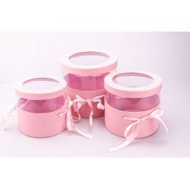 Тубусы из прозрачной крышкой и лентами 3 шт. розовые