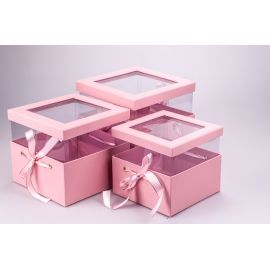 Cube boxes of transparent lid and ribbons 3 pcs. pink