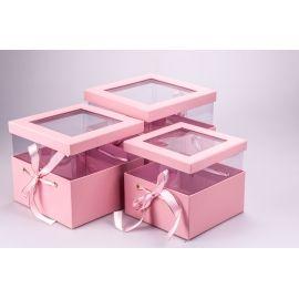 Коробки кубічні з прозорою кришкою і стрічками 3 шт. рожеві