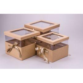 Коробки кубічні з прозорою кришкою і стрічками 3 шт. крафт