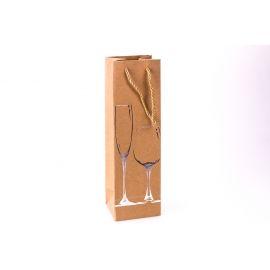Пакет для вина крафт 11 см × 36 см × 10 см « Silver glass»