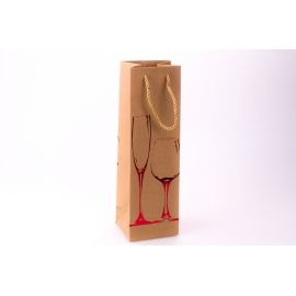 Kraft wine package 11 cm × 36 cm × 10 cm « Red glass»