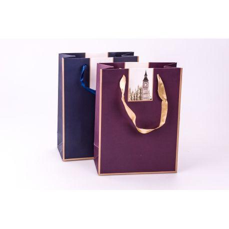 Пакет паперовий 18 см × 24 см × 8.5 см « Архітектурні шедеври » фіолетовий