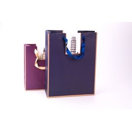 Пакет паперовий 25.5 см × 33 см × 10 см « Архітектурні шедеври » синій