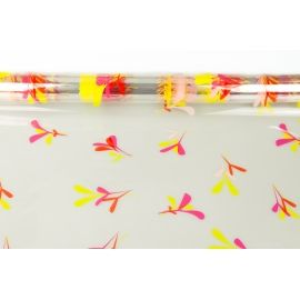 "Transparent film ""Leaflets"" with a pattern of red + yellow"
