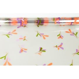 "A transparent film ""Leaflets"" with a pattern is orange + purple"