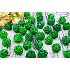 Rattan ball (green) 3 cm