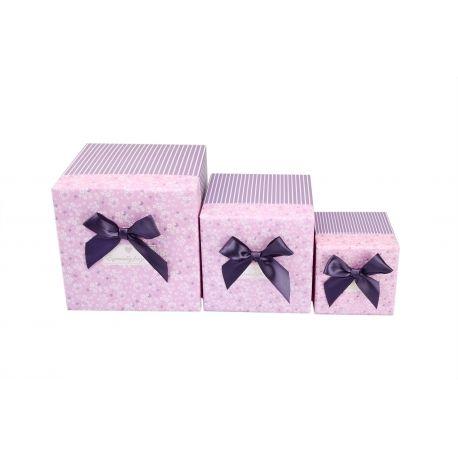 """Набор коробок """"Полоска"""" (розовые) 3 шт"""
