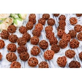 Rattan ball (brown) 3 cm