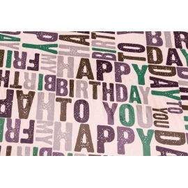 "Coated paper 0.7 x 10 yd.""Happy Birthday to You"""" """