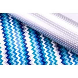 Paper double-sided 0.7 x 10 yard. Zigzag silver of blue