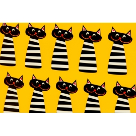 "Coated paper 0.7 x 10 yd. ""Striped cats"""