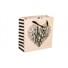 """Пакет картонный 25 х 25 х 10 см.""""Love пудра"""""""