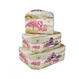 Suitcases «Pink Flamingos» 3 pcs.