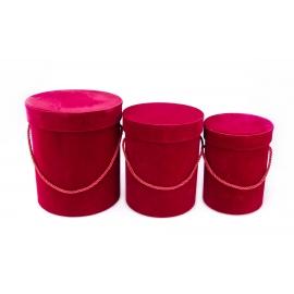 Velvet high tubes 3 pcs (burgundy)